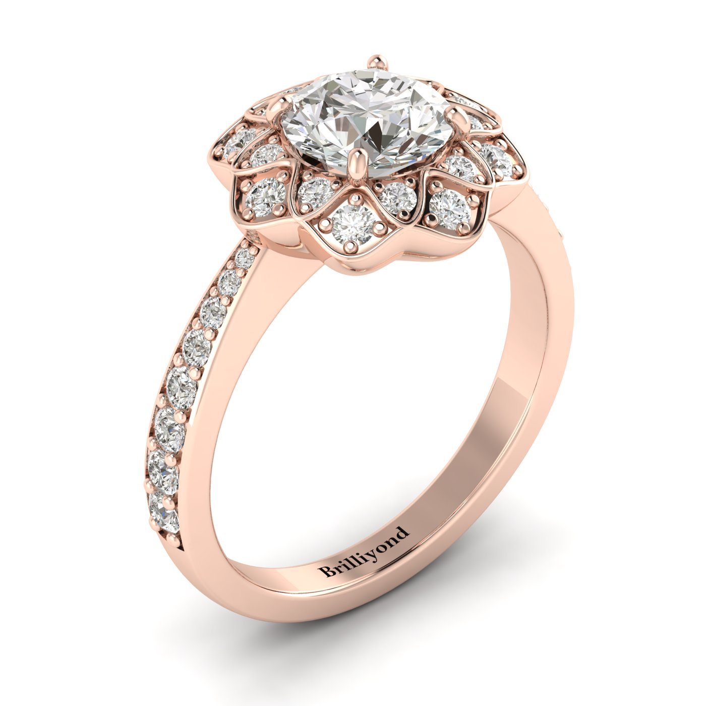 White Sapphire Rose Gold Floral Halo Engagement Ring Santorini_image1