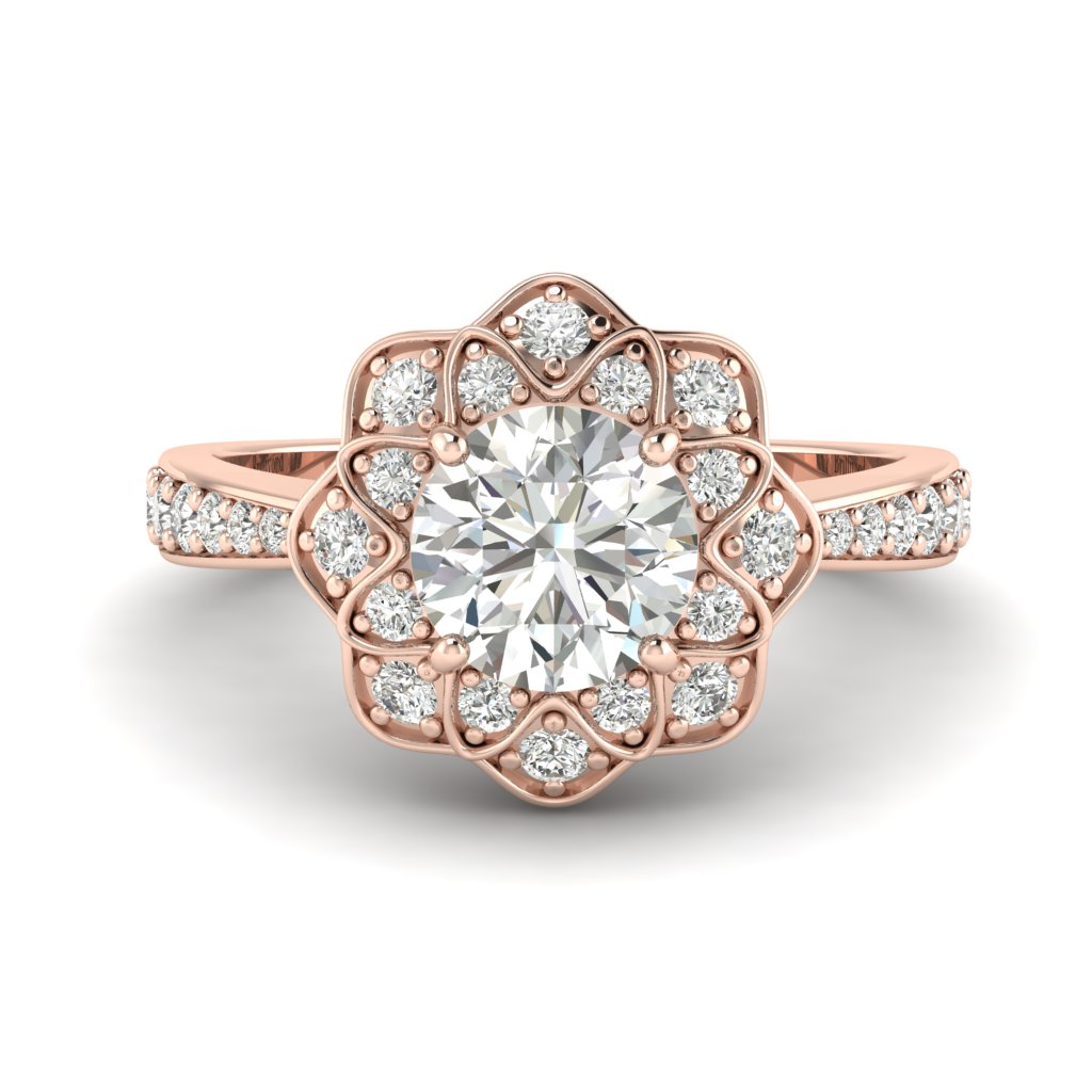 White Sapphire Rose Gold Floral Halo Engagement Ring Santorini_image2