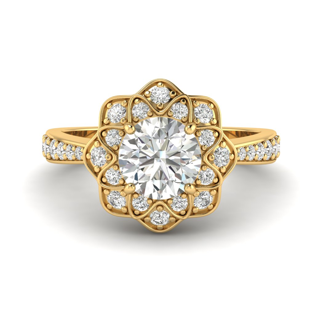 White Sapphire Yellow Gold Floral Halo Engagement Ring Santorini_image1