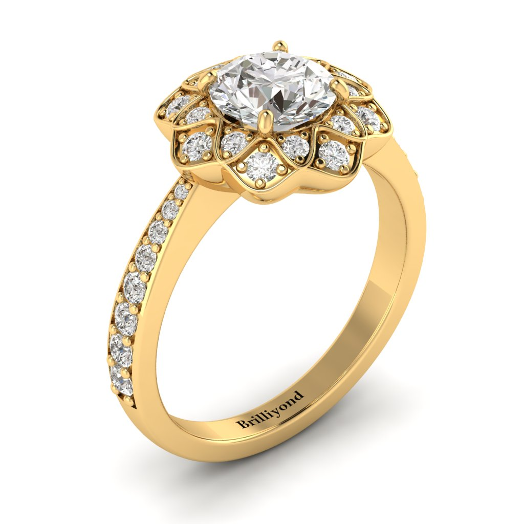 White Sapphire Yellow Gold Floral Halo Engagement Ring Santorini_image2