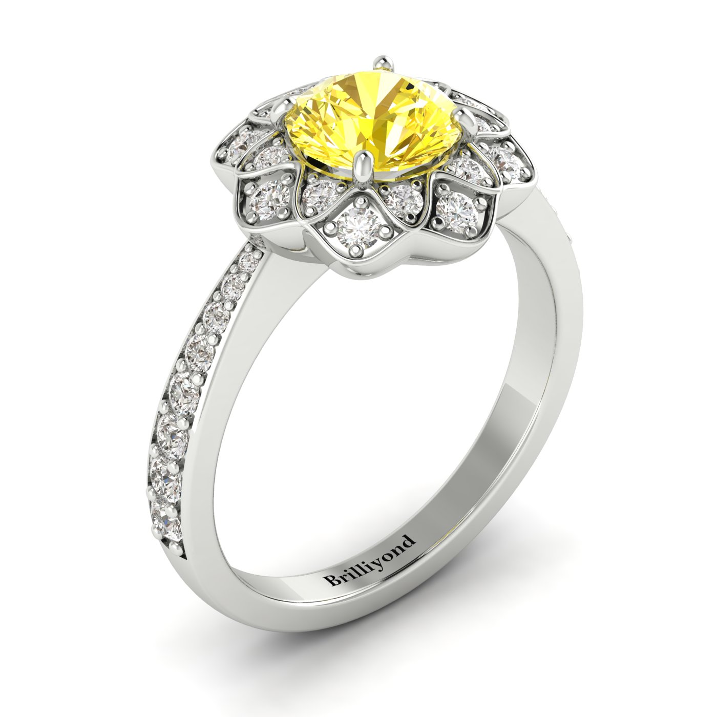 Yellow Sapphire White Gold Floral Halo Engagement Ring Santorini_image1