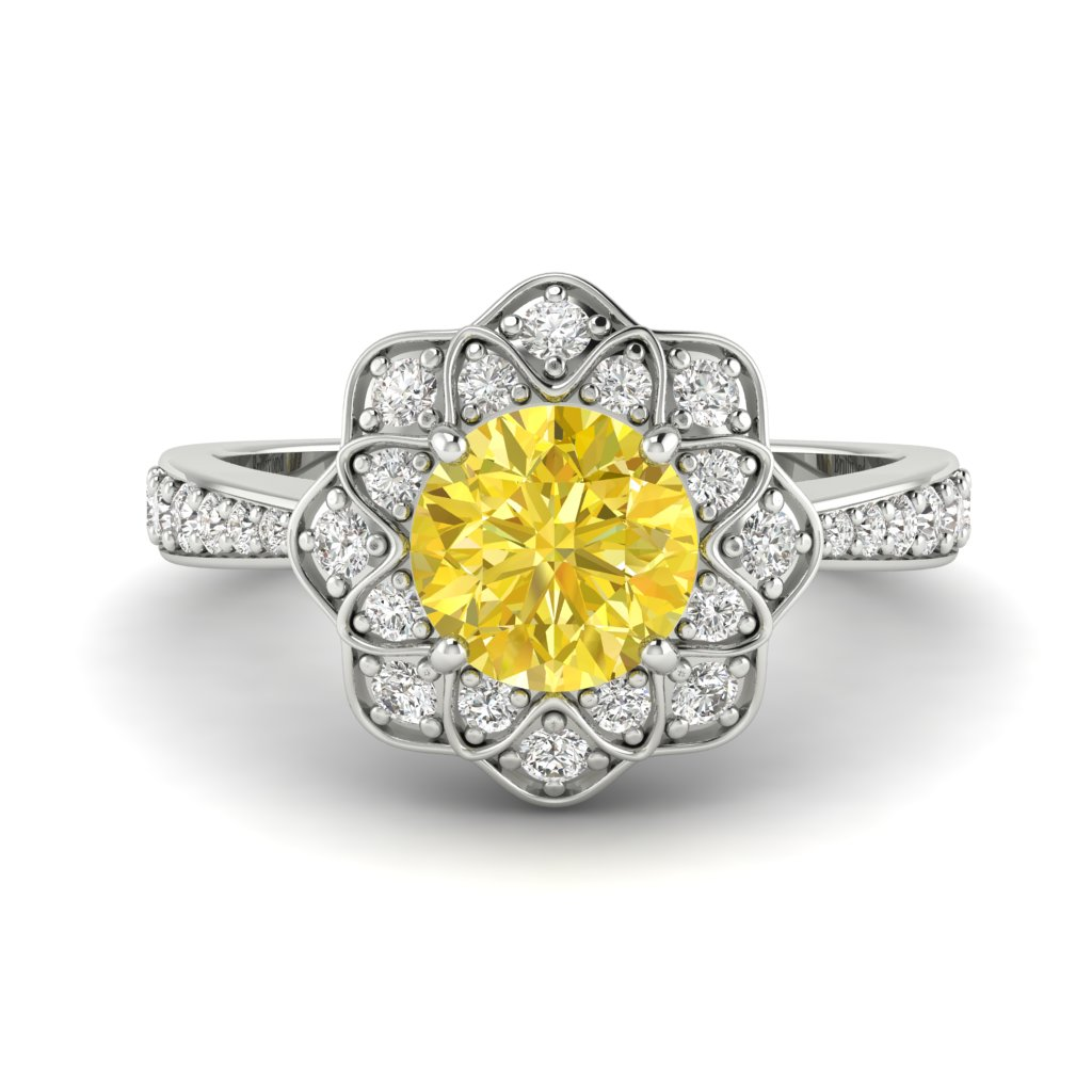 Yellow Sapphire White Gold Floral Halo Engagement Ring Santorini_image2