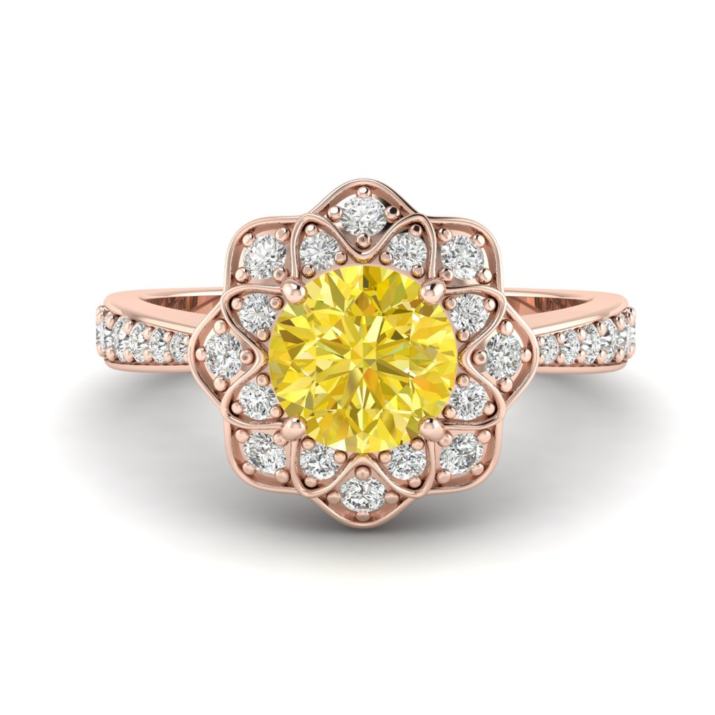 Yellow Sapphire Rose Gold Floral Halo Engagement Ring Santorini_image1