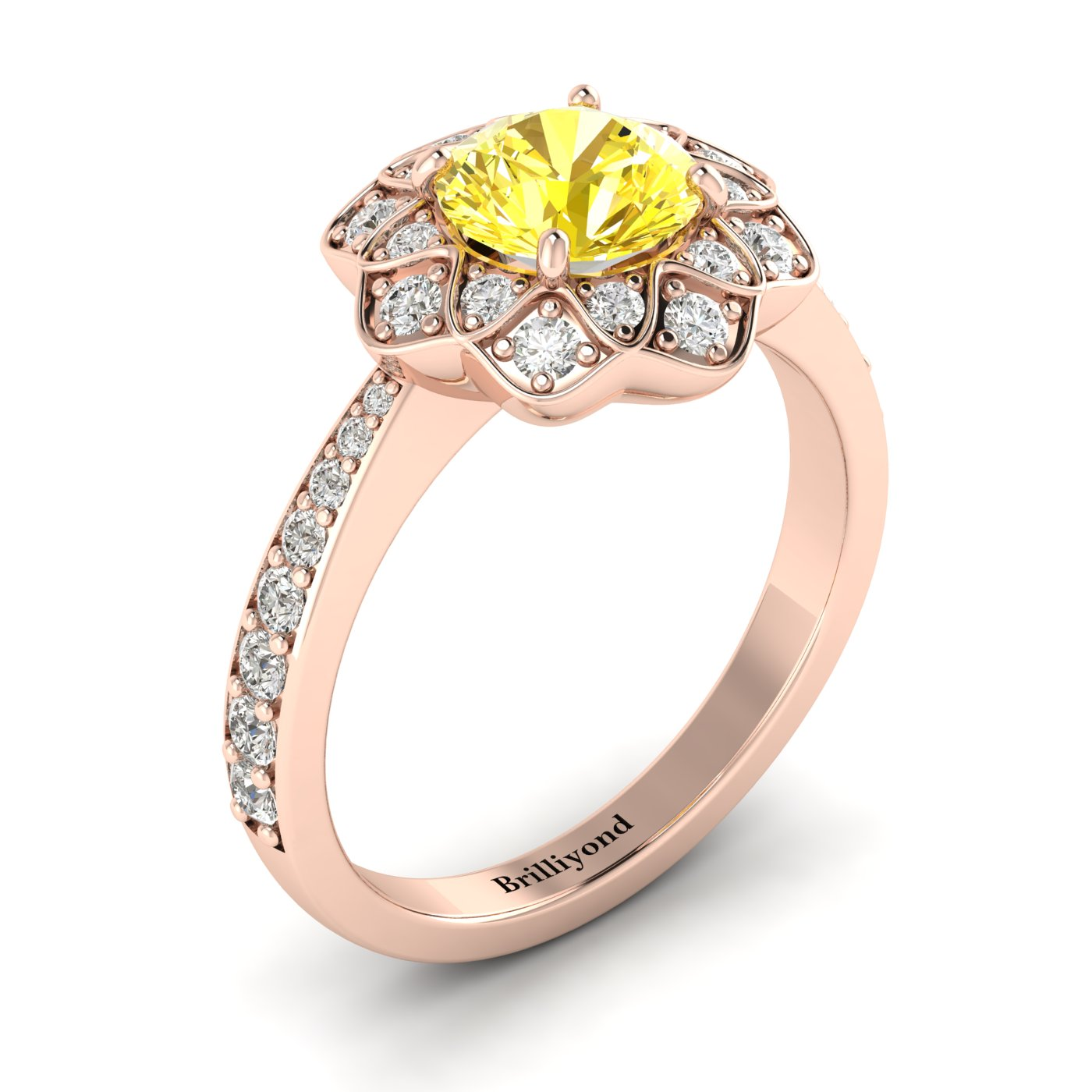 Yellow Sapphire Rose Gold Floral Halo Engagement Ring Santorini_image2