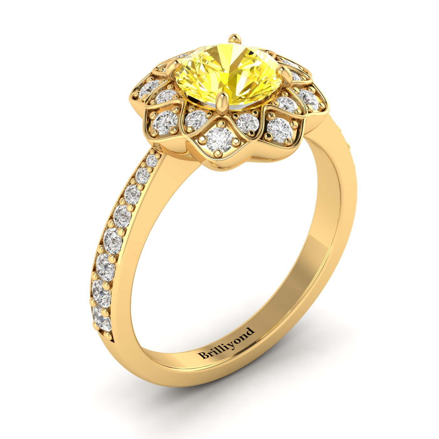Yellow Sapphire Yellow Gold Floral Halo Engagement Ring Santorini_image1