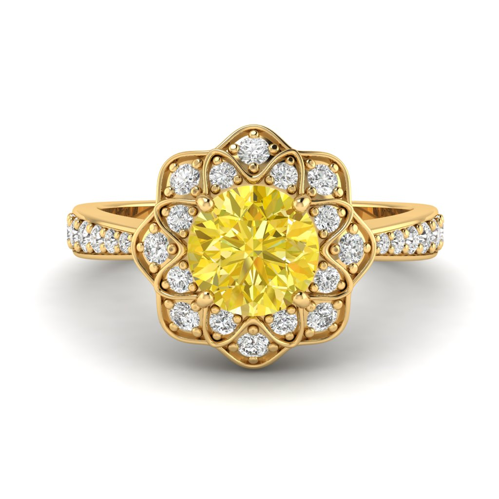 Yellow Sapphire Yellow Gold Floral Halo Engagement Ring Santorini_image2