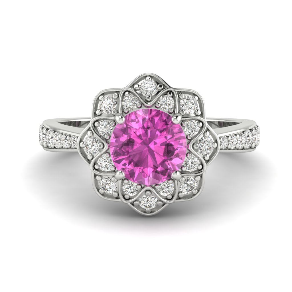 Pink Sapphire White Gold Floral Halo Engagement Ring Santorini_image1