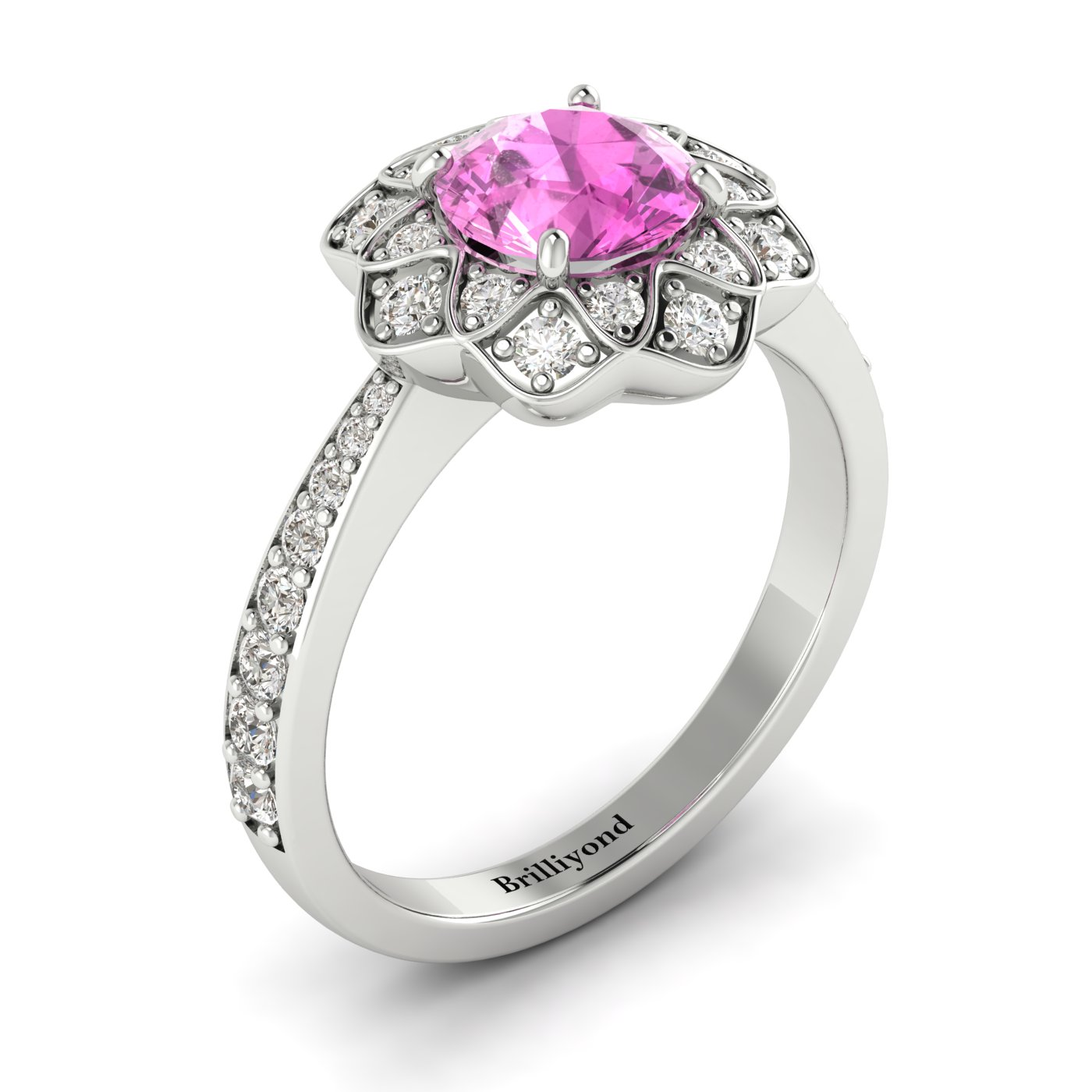 Pink Sapphire White Gold Floral Halo Engagement Ring Santorini_image2