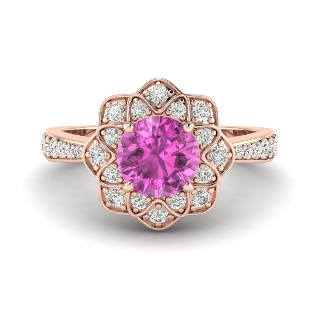 Pink Sapphire Rose Gold Floral Halo Engagement Ring Santorini