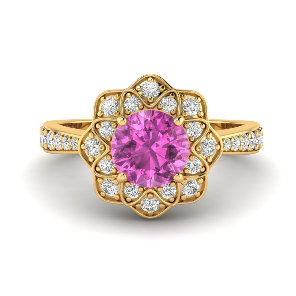 Pink Sapphire Yellow Gold Floral Halo Engagement Ring Santorini_image1