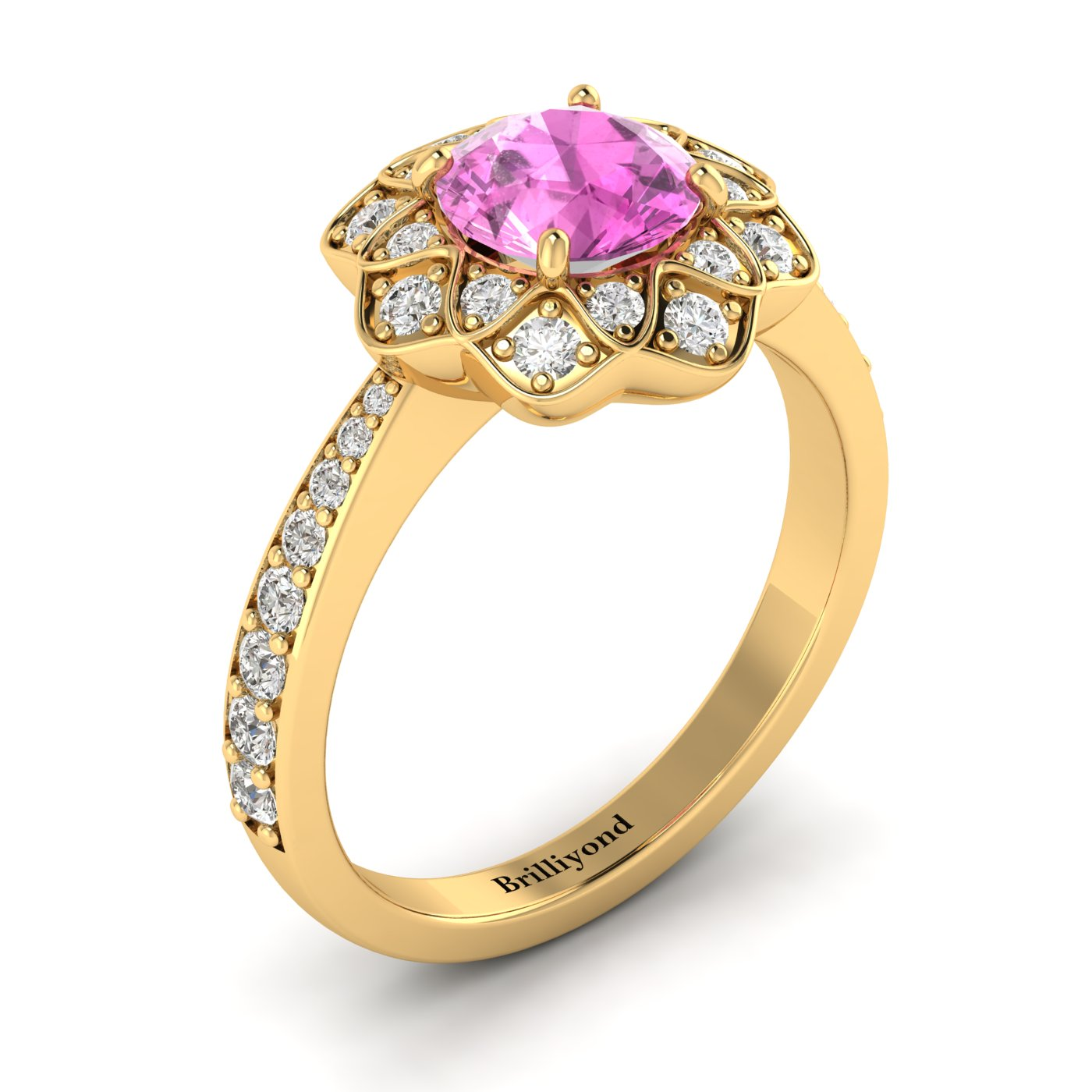Pink Sapphire Yellow Gold Floral Halo Engagement Ring Santorini