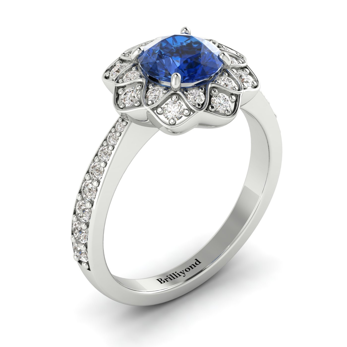Blue Sapphire White Gold Floral Halo Engagement Ring Santorini_image1