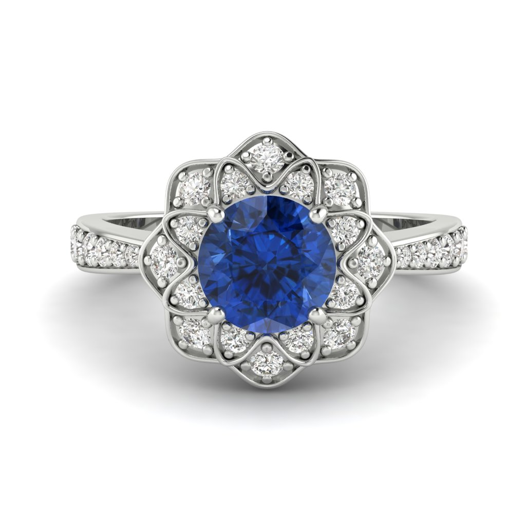Blue Sapphire White Gold Floral Halo Engagement Ring Santorini_image2