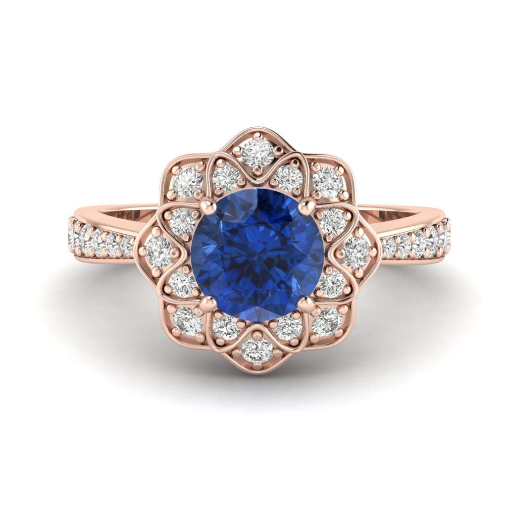 Blue Sapphire Rose Gold Floral Halo Engagement Ring Santorini_image1
