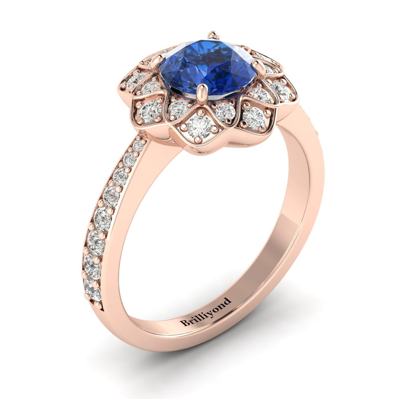 Blue Sapphire Rose Gold Floral Halo Engagement Ring Santorini_image2
