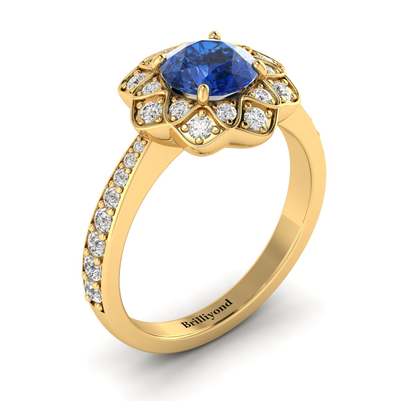 Blue Sapphire Yellow Gold Floral Halo Engagement Ring Santorini_image1