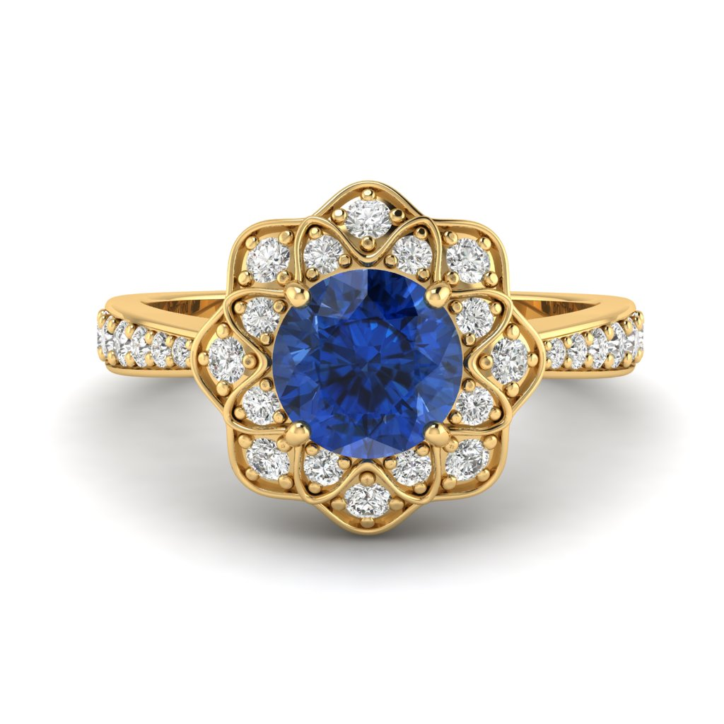 Blue Sapphire Yellow Gold Floral Halo Engagement Ring Santorini_image2