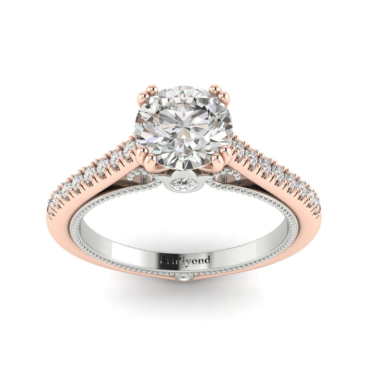 Diamond Rose Gold Two Tone Engagement Ring Alpine_image2