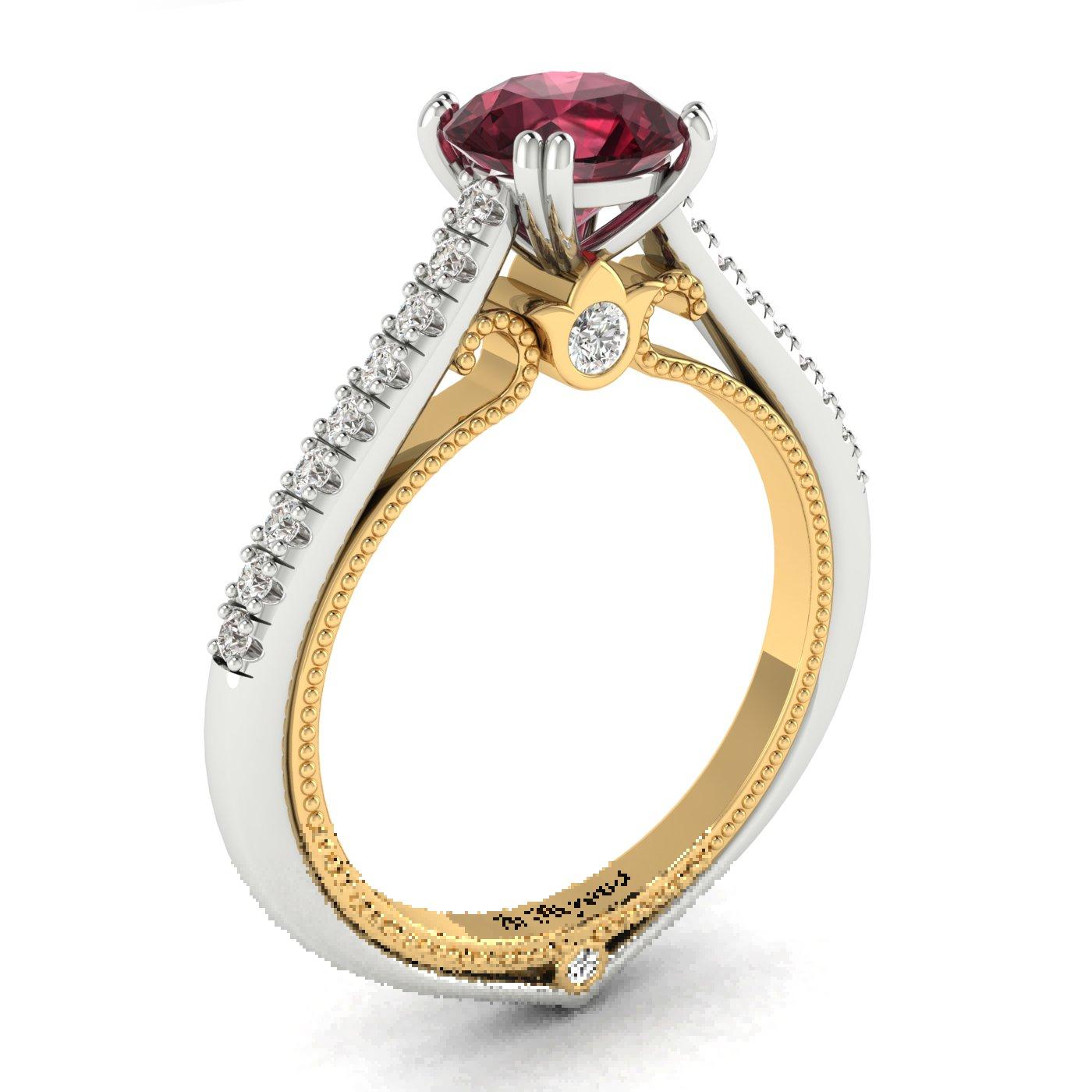Garnet White Gold Two Tone Engagement Ring Alpine_image1
