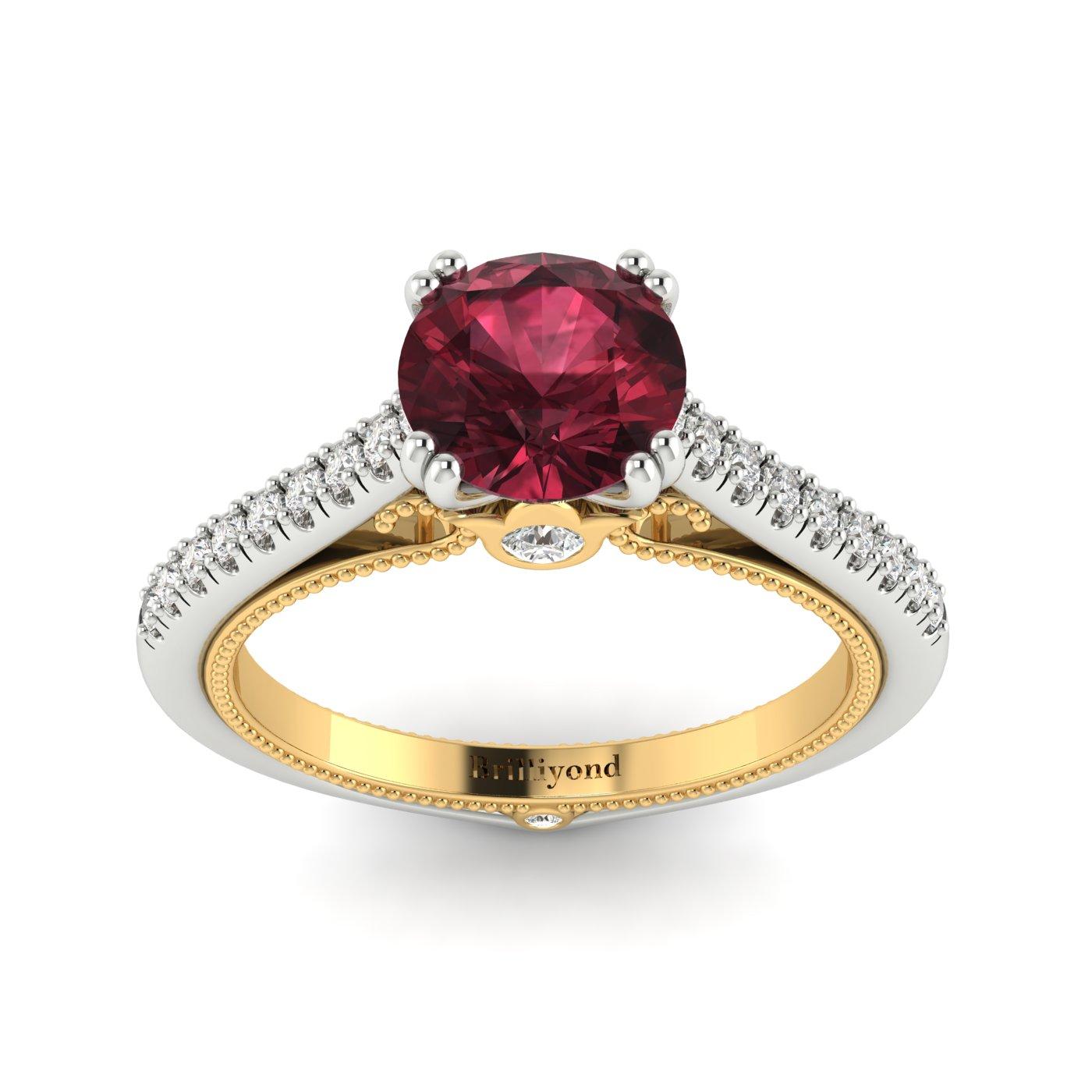 Garnet White Gold Two Tone Engagement Ring Alpine_image2