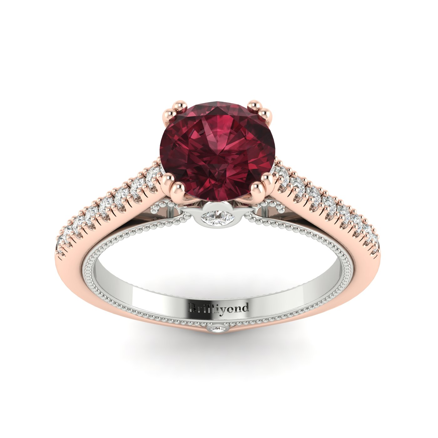 Garnet Rose Gold Two Tone Engagement Ring Alpine_image1