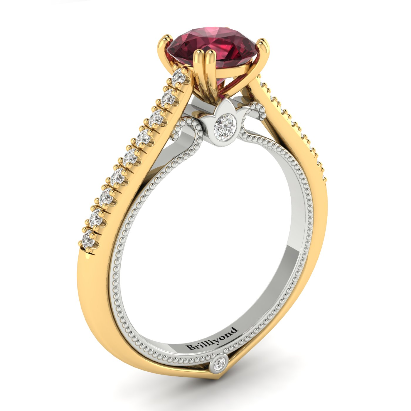 Garnet Yellow Gold Two Tone Engagement Ring Alpine_image1