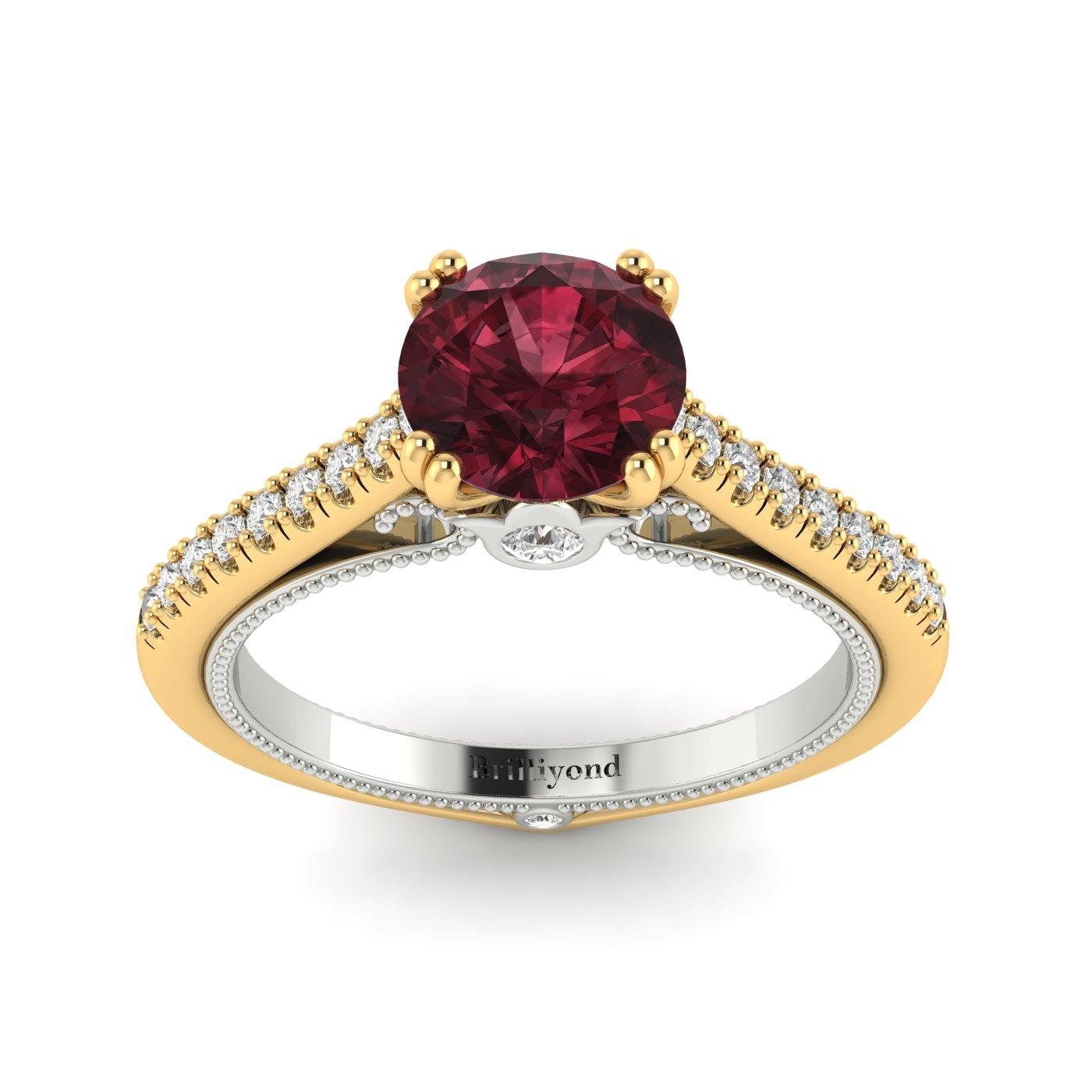Garnet Yellow Gold Two Tone Engagement Ring Alpine_image2