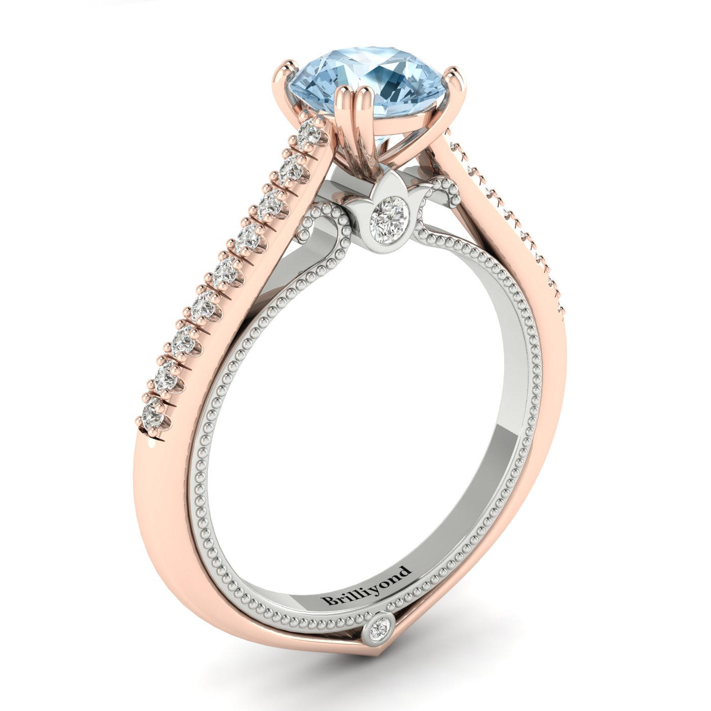 Aquamarine Rose Gold Two Tone Engagement Ring Alpine_image1
