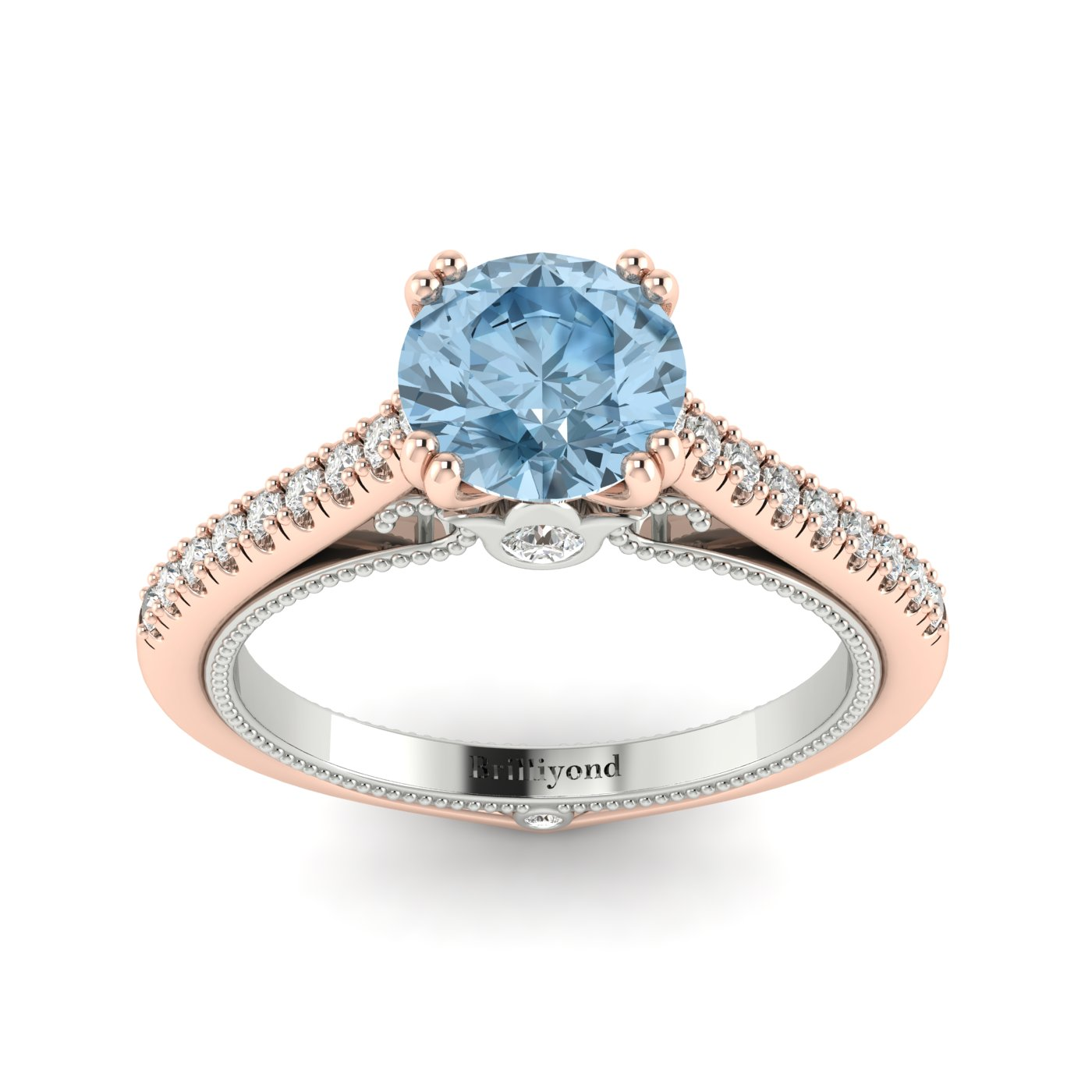 Aquamarine Rose Gold Two Tone Engagement Ring Alpine_image2