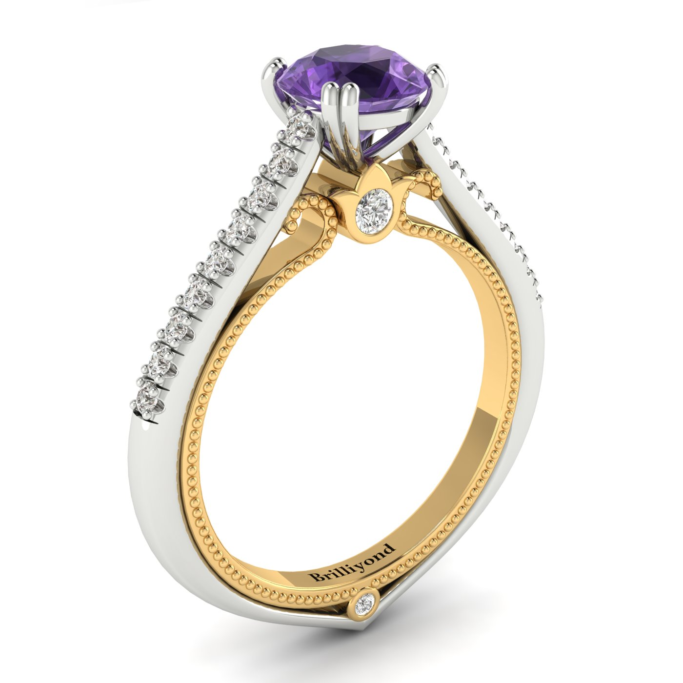 Amethyst White Gold Two Tone Engagement Ring Alpine_image1