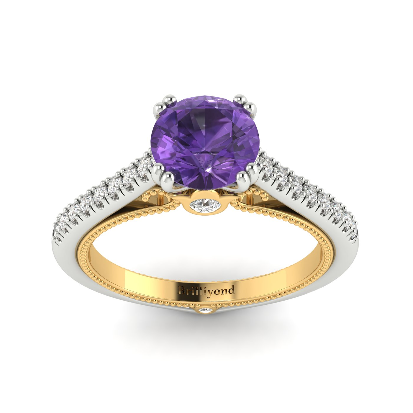 Amethyst White Gold Two Tone Engagement Ring Alpine_image2
