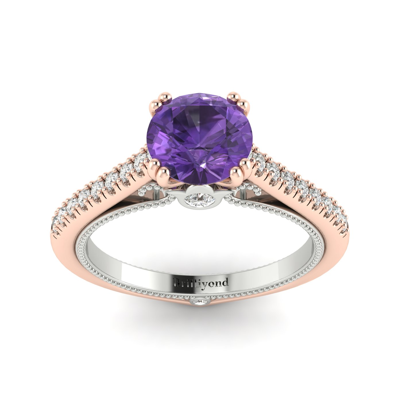 Amethyst Rose Gold Two Tone Engagement Ring Alpine