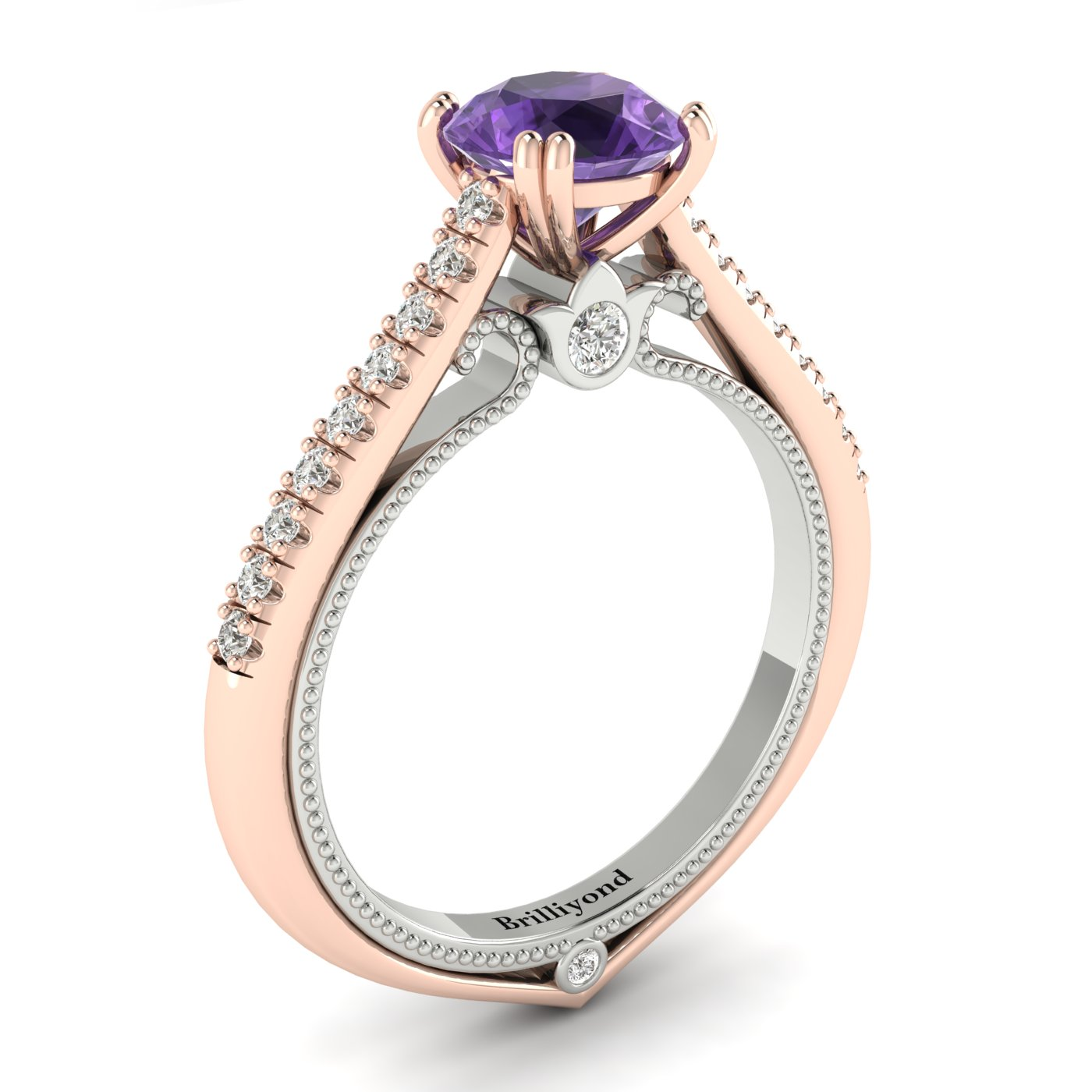 Amethyst Rose Gold Two Tone Engagement Ring Alpine_image2