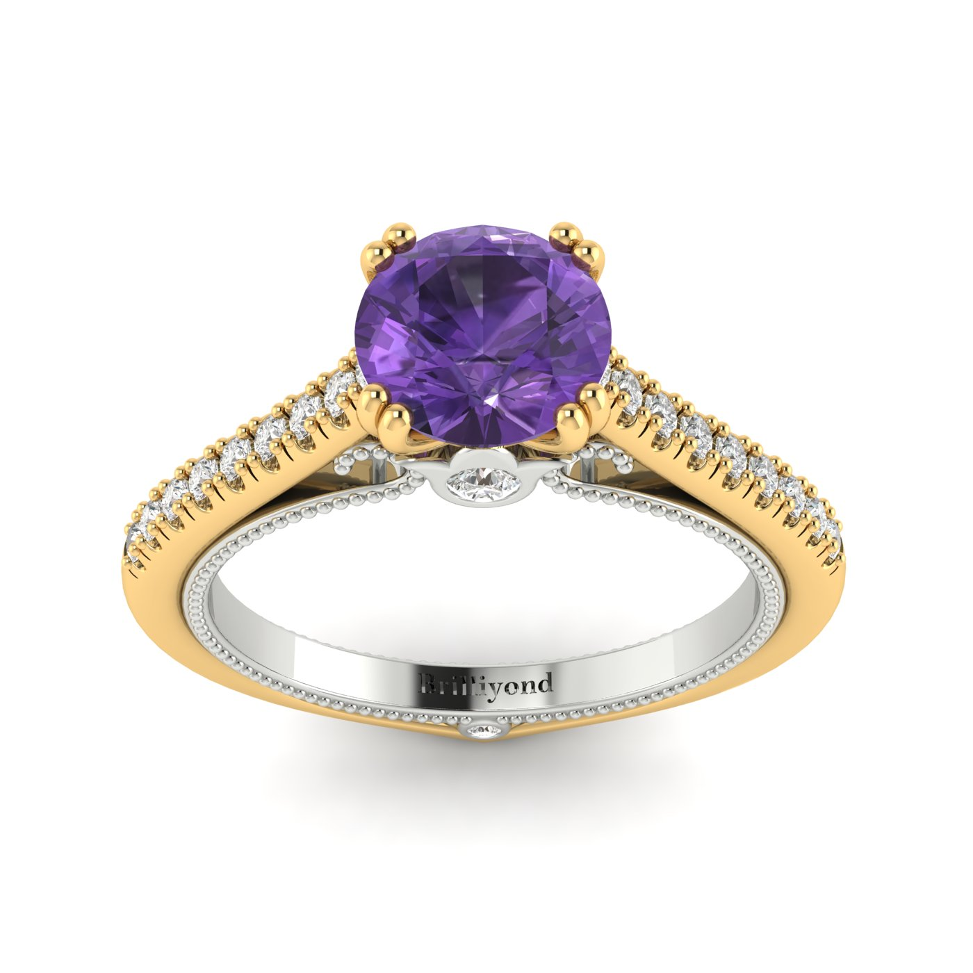 Amethyst Yellow Gold Two Tone Engagement Ring Alpine_image2