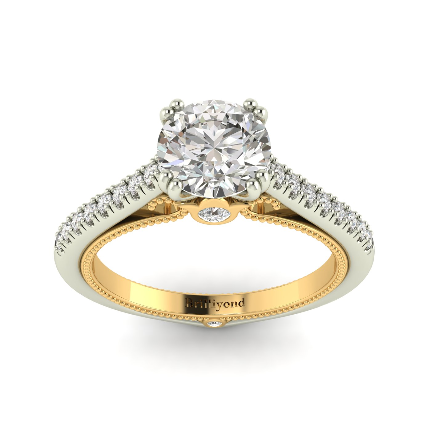 White Sapphire White Gold Two Tone Engagement Ring Alpine_image1