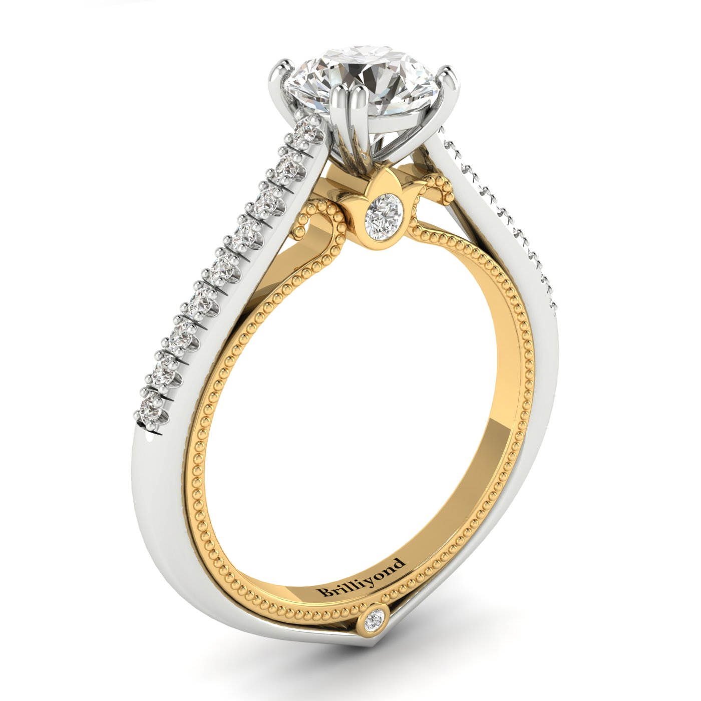 White Sapphire White Gold Two Tone Engagement Ring Alpine_image2