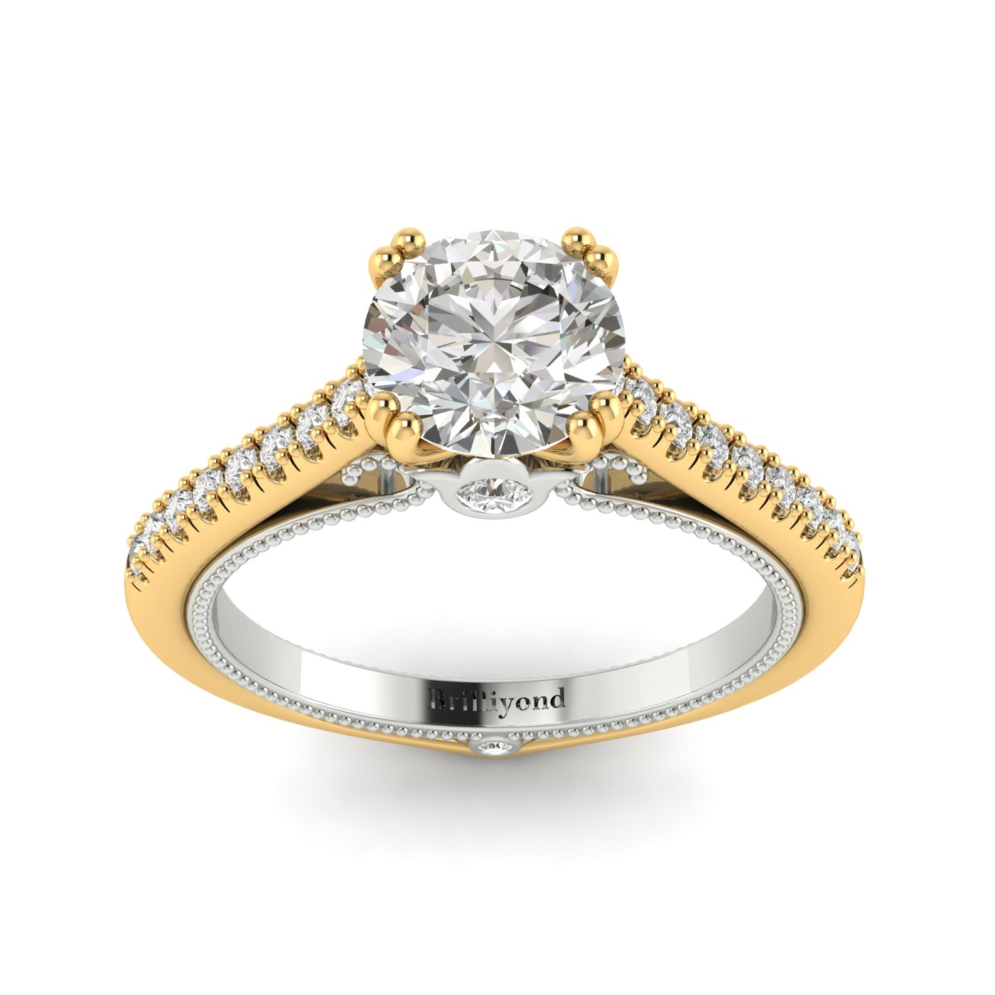 White Sapphire Yellow Gold Two Tone Engagement Ring Alpine_image1
