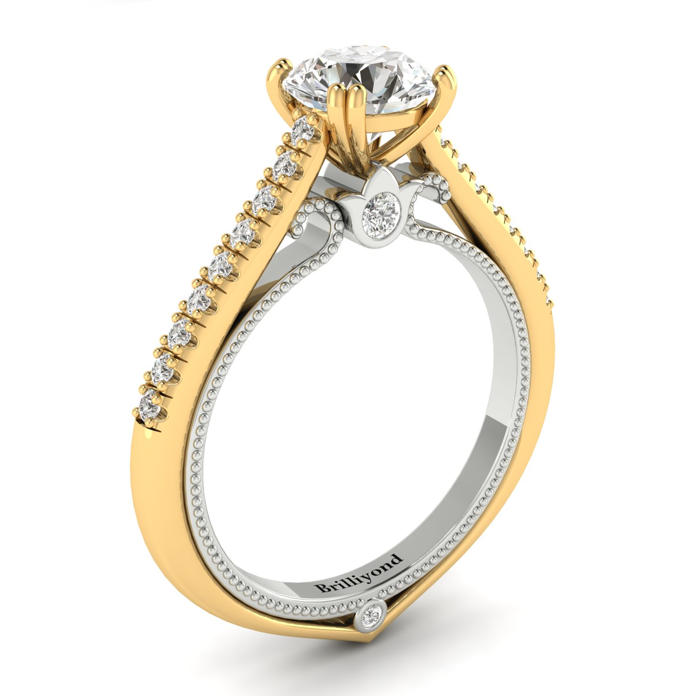 White Sapphire Yellow Gold Two Tone Engagement Ring Alpine_image2