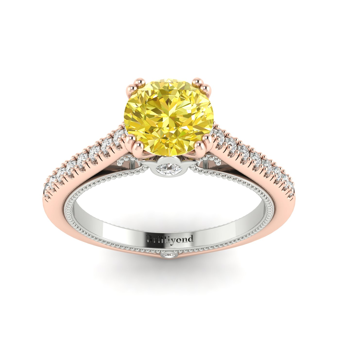Yellow Sapphire Rose Gold Two Tone Engagement Ring Alpine_image1