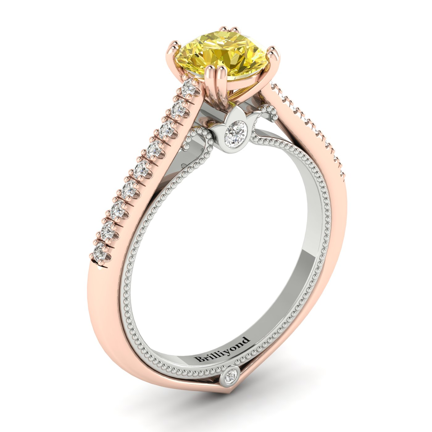 Yellow Sapphire Rose Gold Two Tone Engagement Ring Alpine_image2