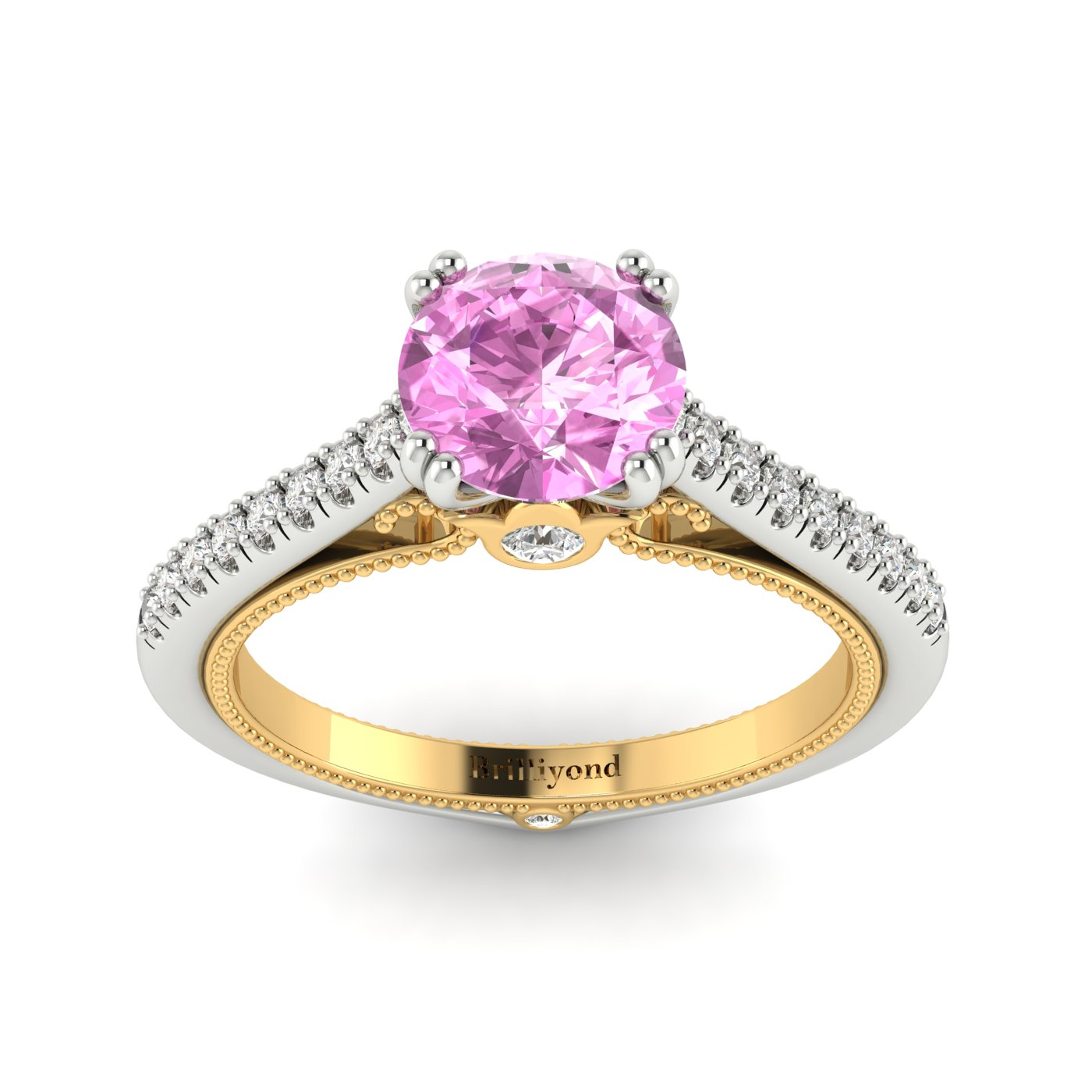 Pink Sapphire White Gold Two Tone Engagement Ring Alpine_image1