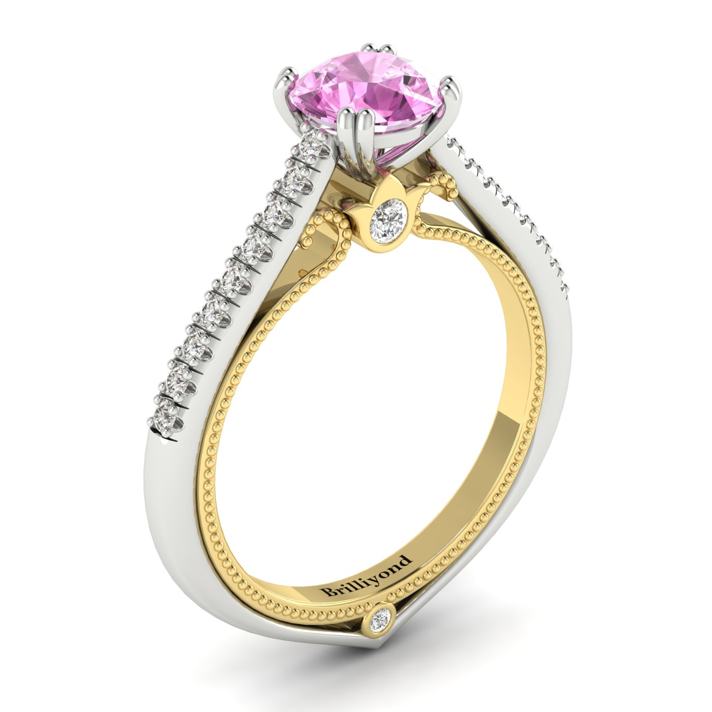 Pink Sapphire White Gold Two Tone Engagement Ring Alpine_image2