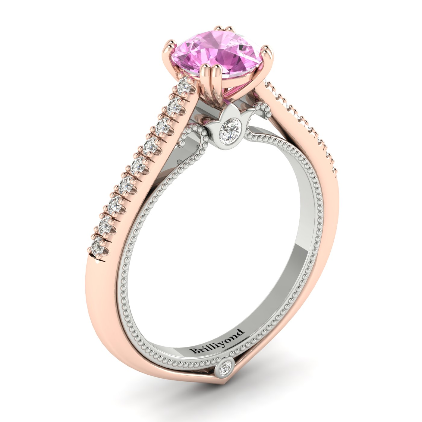Pink Sapphire Rose Gold Two Tone Engagement Ring Alpine