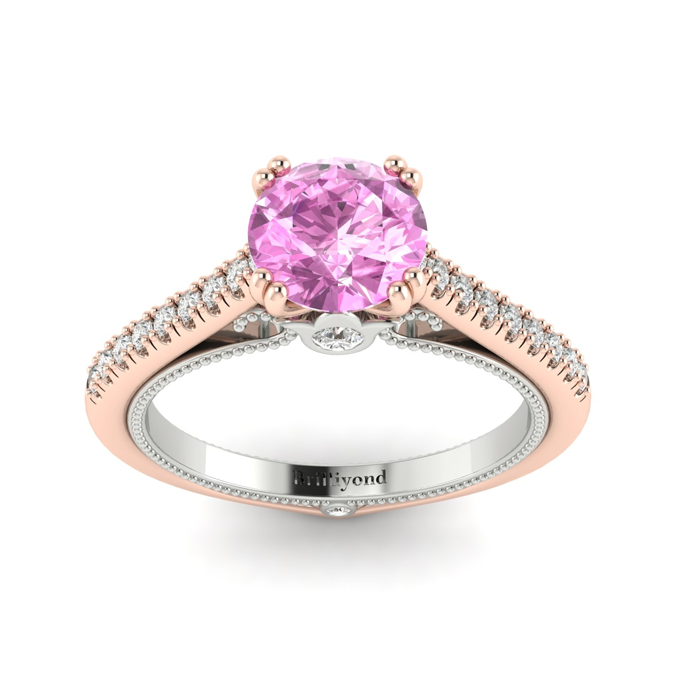 Pink Sapphire Rose Gold Two Tone Engagement Ring Alpine_image2