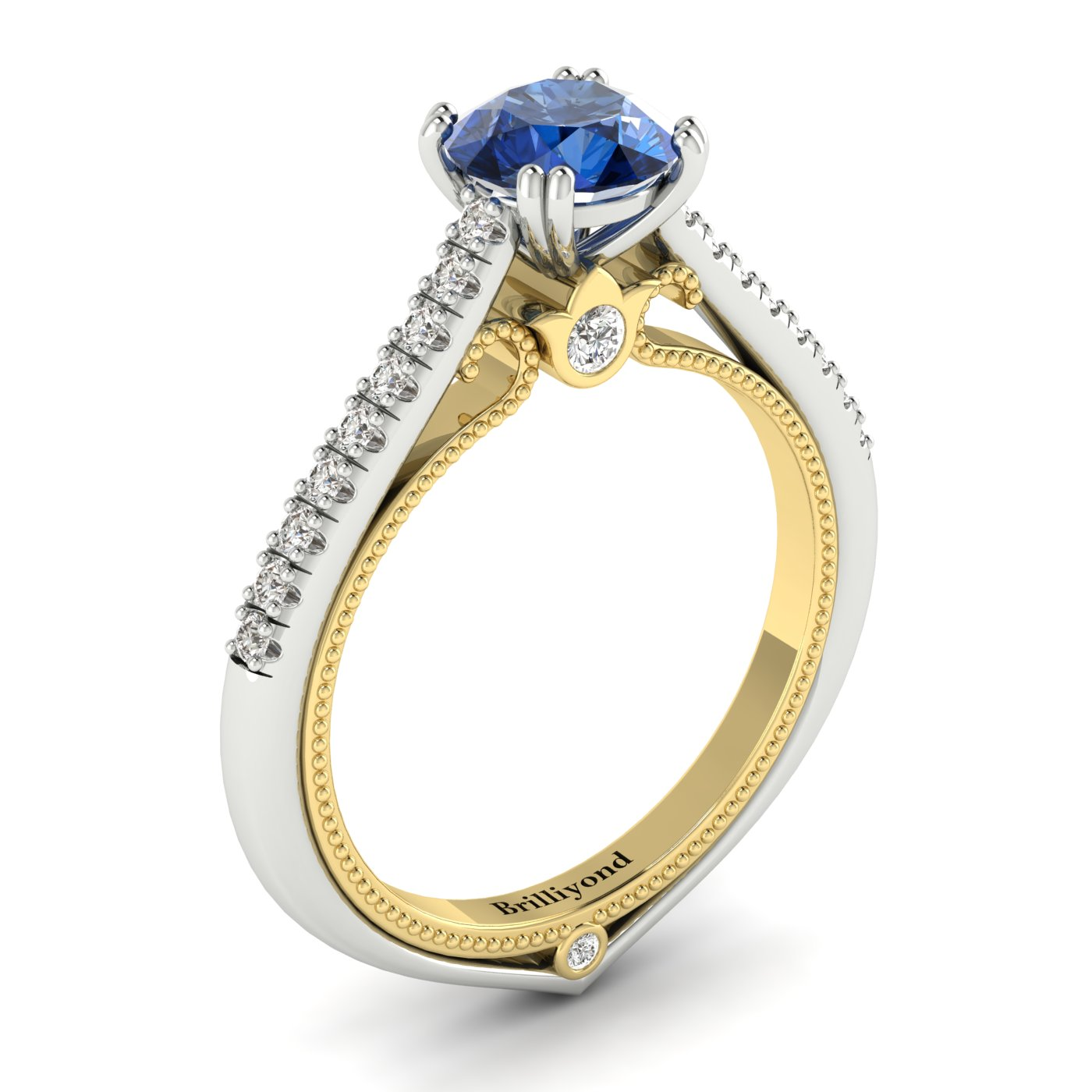 Blue Sapphire White Gold Two Tone Engagement Ring Alpine_image1