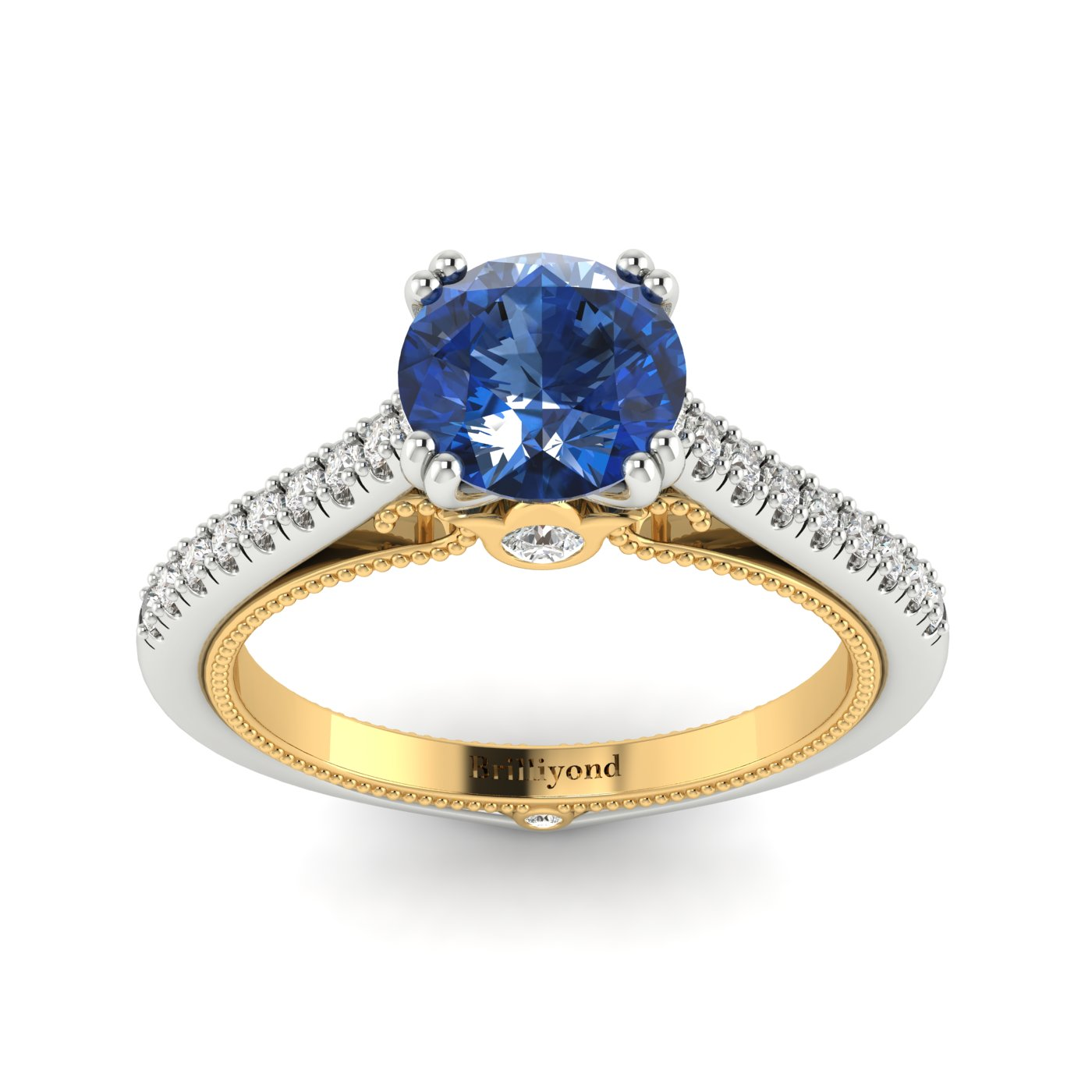 Blue Sapphire White Gold Two Tone Engagement Ring Alpine_image2