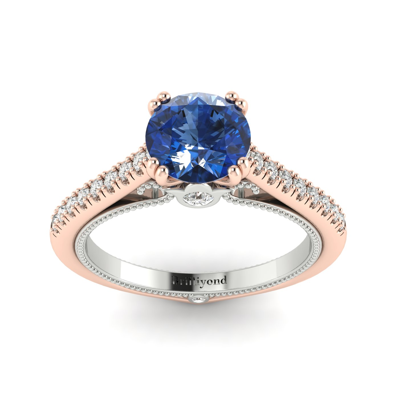 Blue Sapphire Rose Gold Two Tone Engagement Ring Alpine_image1
