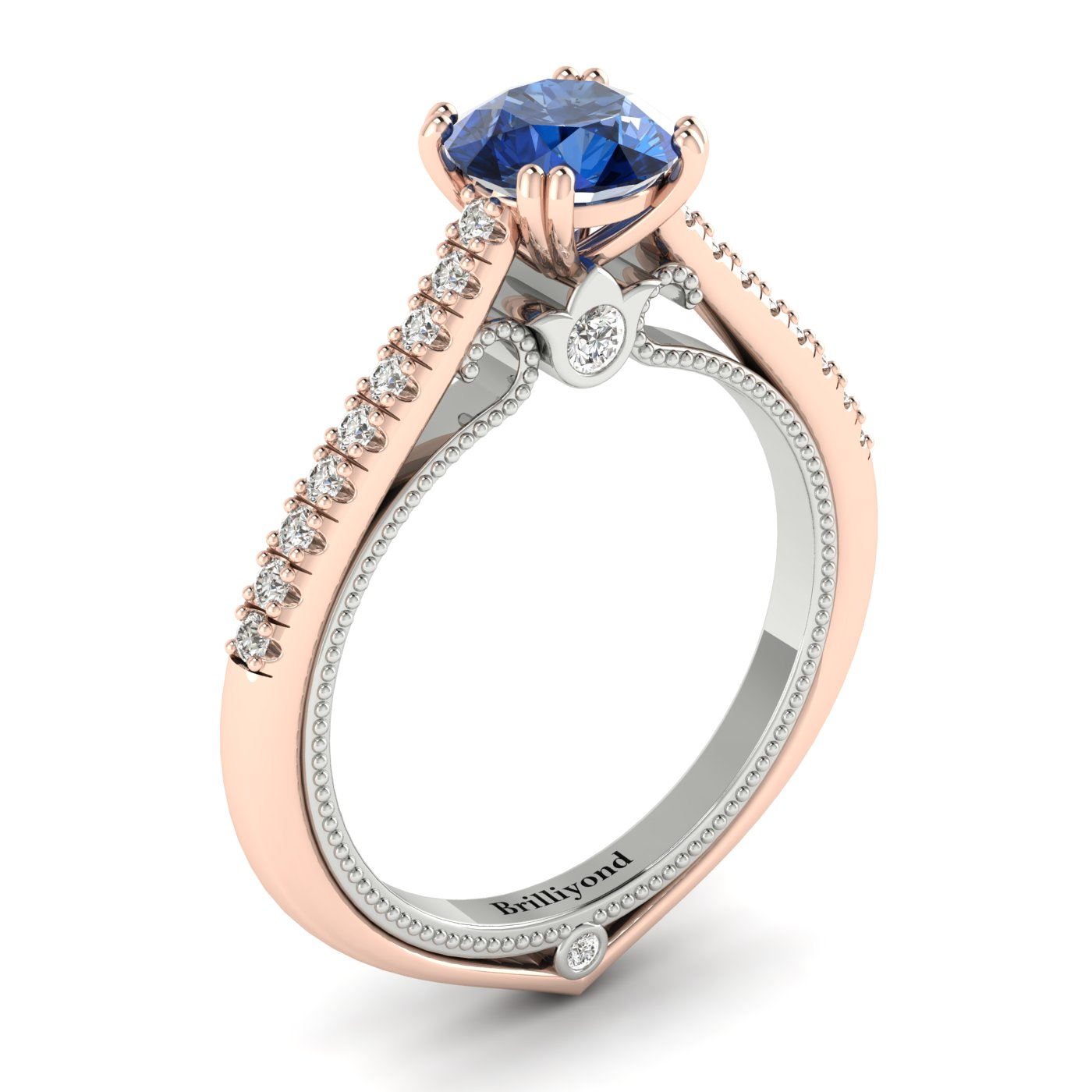 Blue Sapphire Rose Gold Two Tone Engagement Ring Alpine_image2