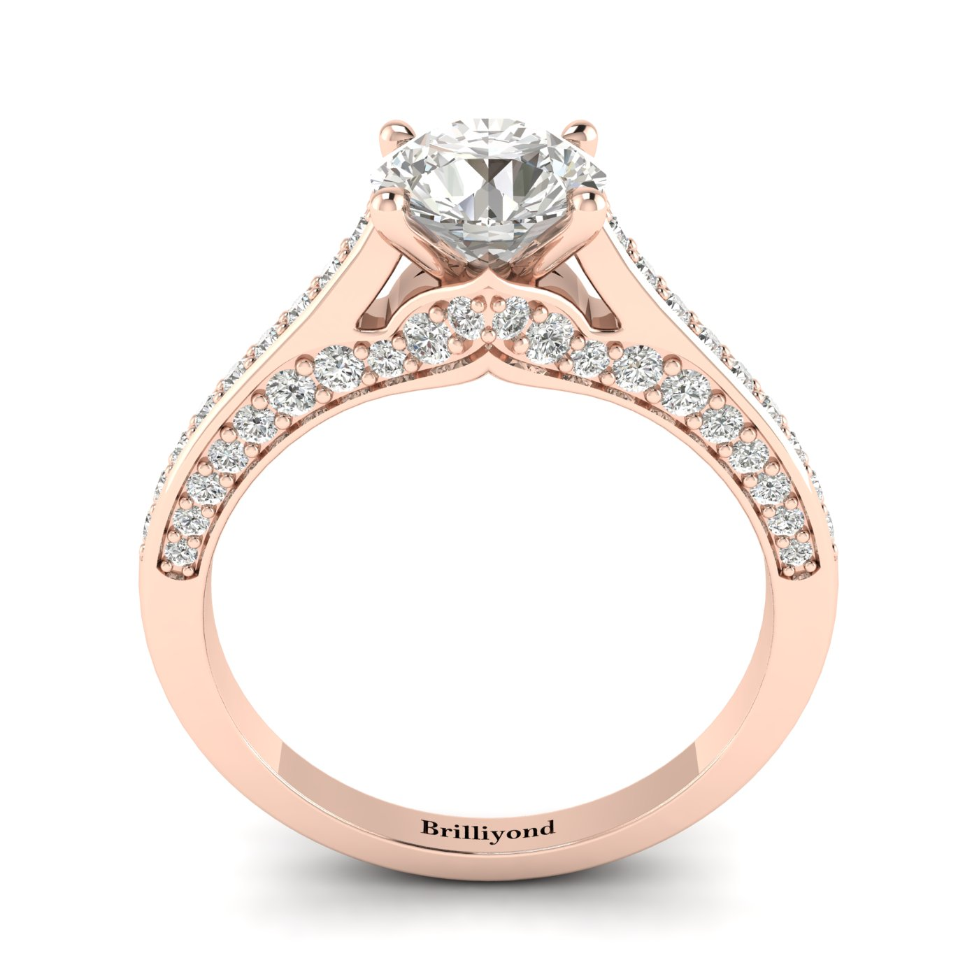 White Sapphire Rose Gold Brilliant Cut Engagement Ring Stargate