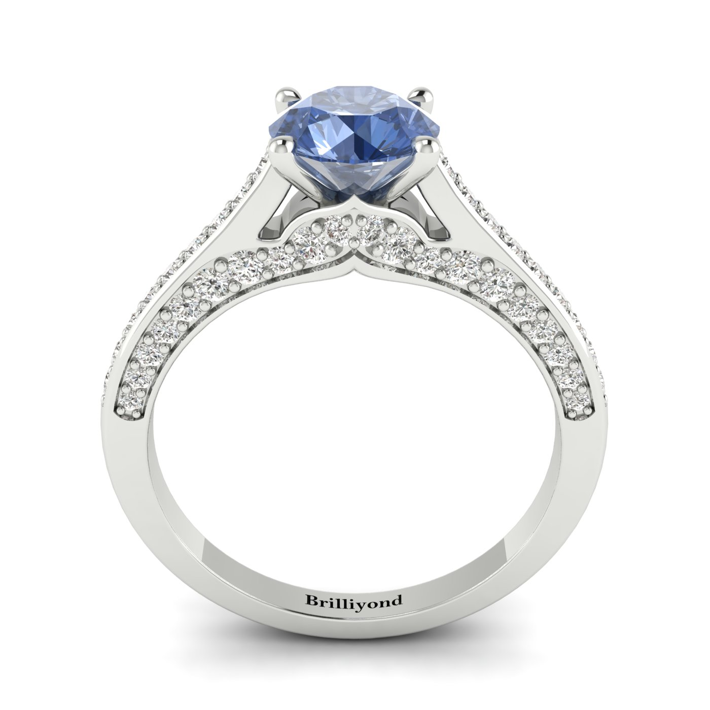 Blue Sapphire White Gold Brilliant Cut Engagement Ring Stargate_image1